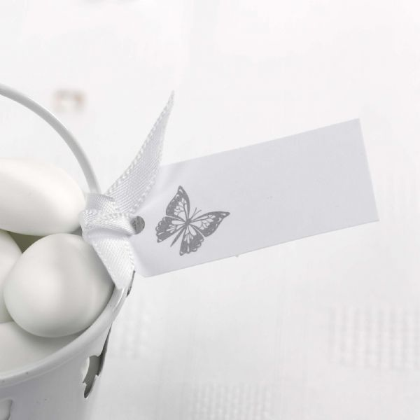 Elegant Butterfly Favour Tags - White & Silver (10)